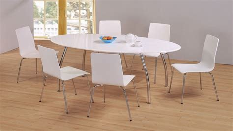 Modern High Dining Table Modern White High Gloss Large Dining Table And 6 Chairs