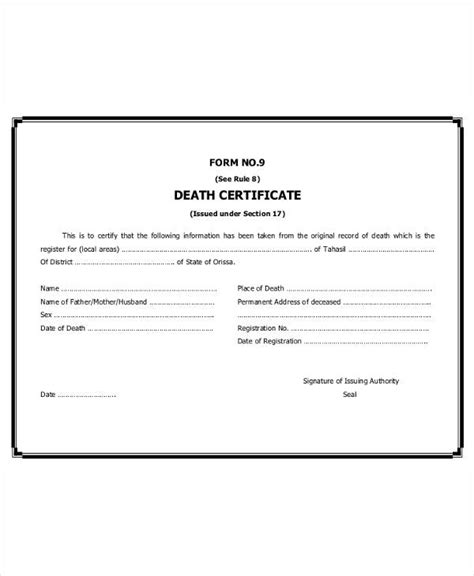 9  Death Certificate Template ? Free Sample, Example
