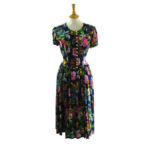 90s Floral by 90s Floral Print Dress Blue 17 Vintage Fashion