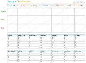 menu planning template with grocery list blank grocery list and meal planner template