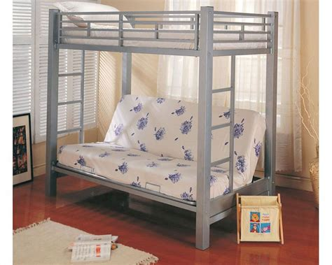 futon with twin bed on top coaster furniture twin over futon bunk bed in silver bunks