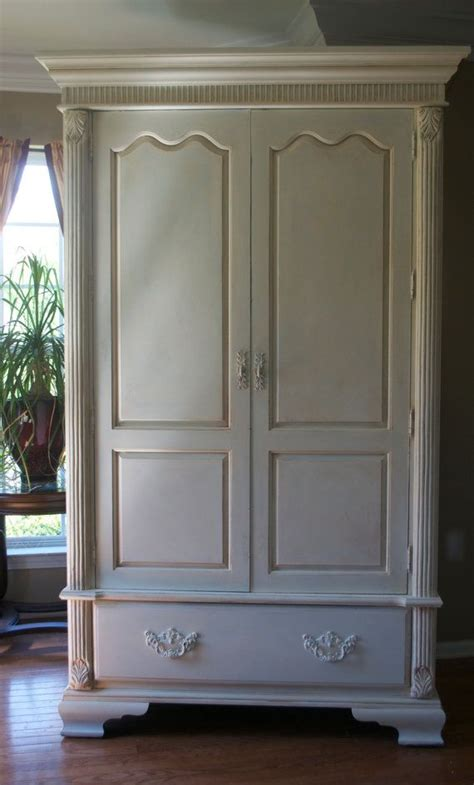 shabby chic white armoire