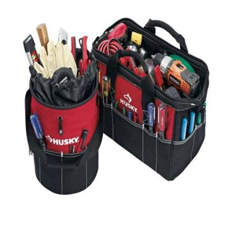 Home Depot Tool Bags by Husky 15 In Tool Bag And Utility Sack Combo 82037n12