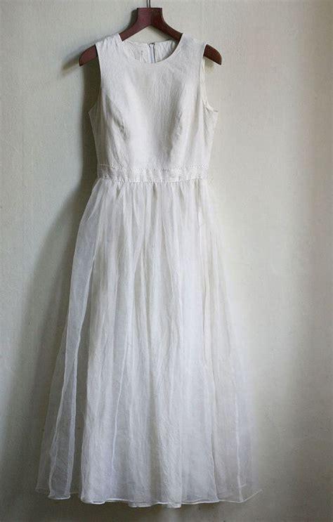 Linen Wedding Dresses by Linen And Chiffon Wedding Dress Ivory Boho Wedding Or