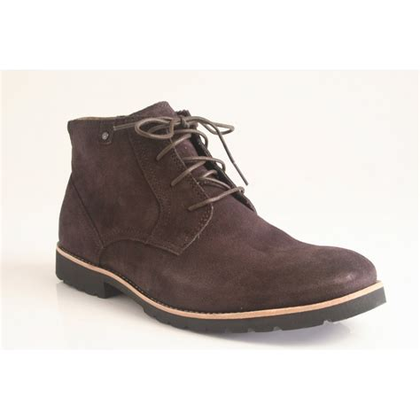 rockport ledge hill lace up boot in soft brown suede