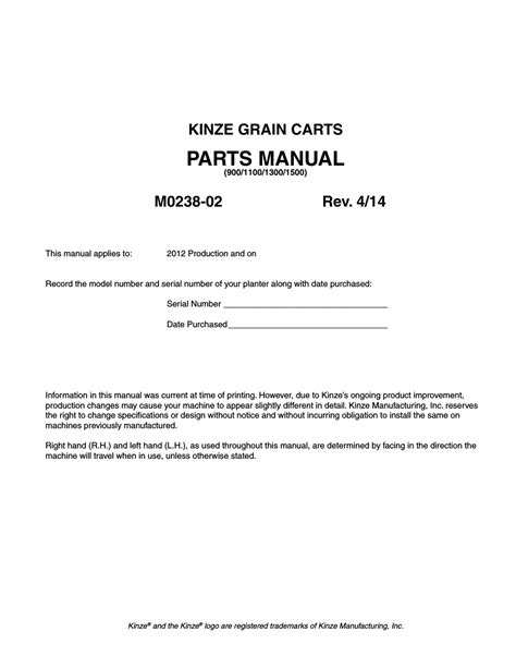 Kinze Planter Serial Numbers by Kinze Grain Carts Rev 4 14 User Manual 176 Pages