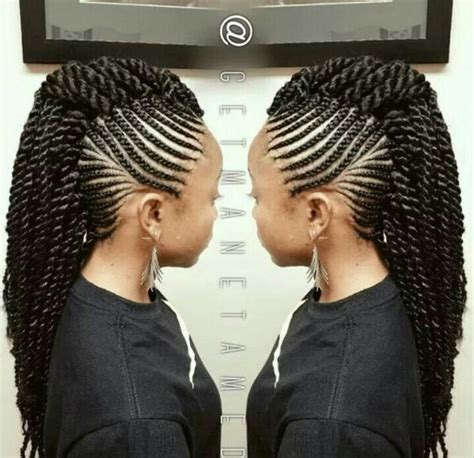braided mohawk with senegalese twist mohawk senegalese twist braids more pinterest