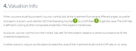 how to use the investment property valuation calculator