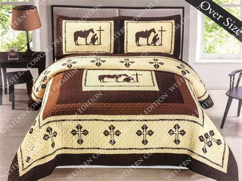 texas bedding set texas praying cowboy horse star western quilt bedspread