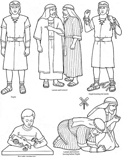 lds coloring pages nephi builds a ship nephi forgives how can we help each other keep our