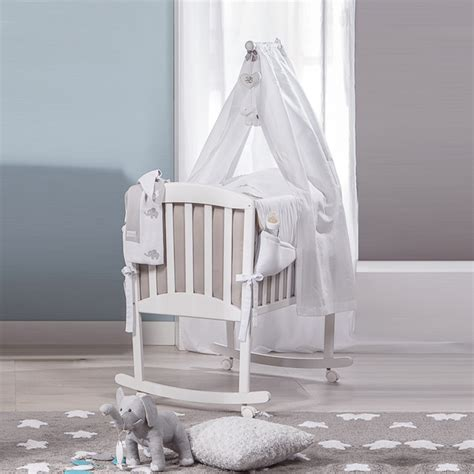 Baby Miro Crib Italian White Coffee Rocking Crib With Veil Miro By Picci