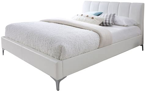 white queen platform bed leona white queen platform bed 18228 q j m