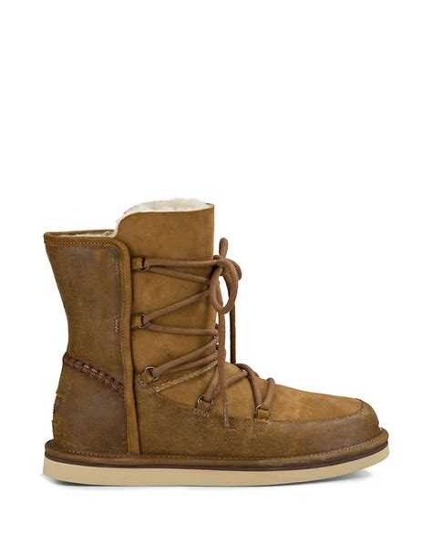 brown lodge ugg lodge leather and sheepskin ankle boots in brown lyst