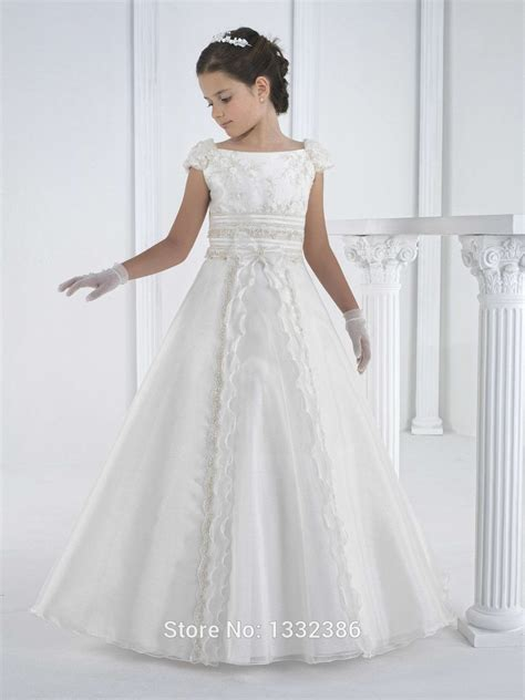 Dress Holy white holy communion dress gown for with cap