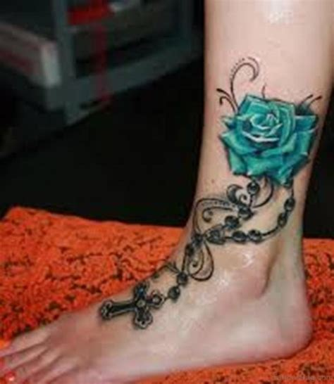 blue rose tattoo on foot 41good looking tattoos for ankle