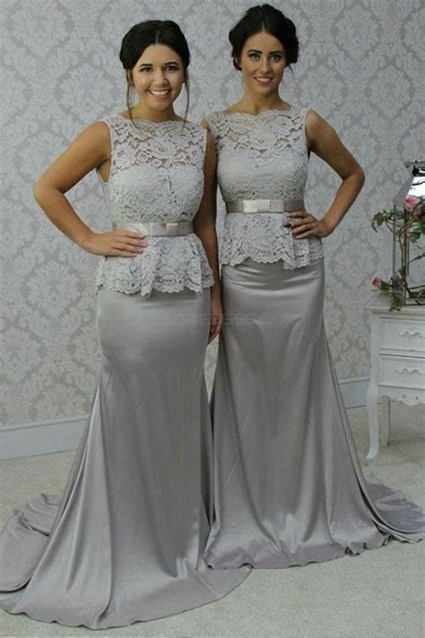 Long Silver Mermaid Lace Wedding Guest Dresses Bridesmaid