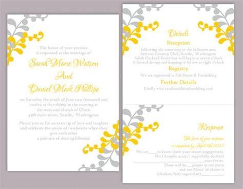 grey and yellow wedding invitations etsy diy wedding invitation template set editable word file instant printable leaf
