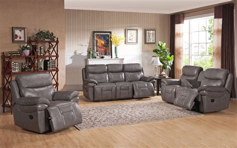 Gray Leather Living Room Sets Summerlands Smoke Grey Leather Reclining Living Room Set C9796nrs2131lu Amax Leather