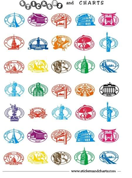 printable country stickers free printable stickers can be used for passports etc