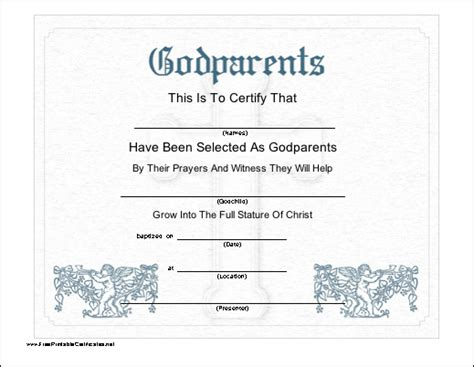 godparent certificate template this printable certificate recognizes the selection of