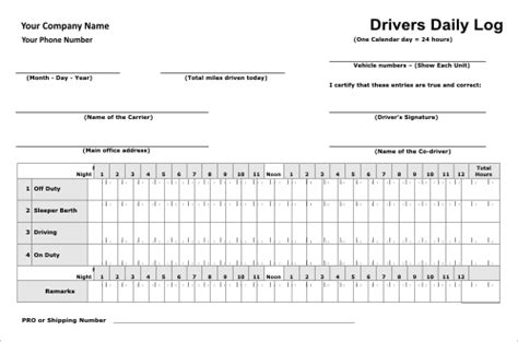 Driver Log Templates Drivers Log Book Template