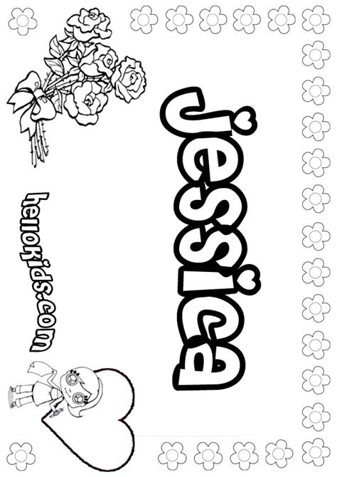 Coloring Pages Of The Name Jessica | jessica coloring pages hellokids com