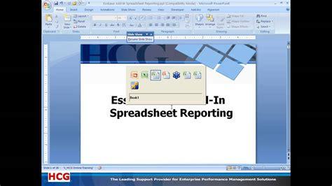 oracle tutorial exles december 2010 essbase excel add in spreadsheet reporting