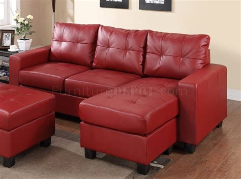 red sectional sofa 2511 sectional sofa set in red bonded leather match pu