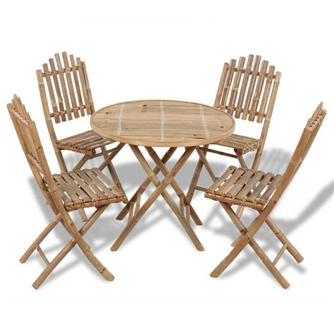 Bamboo Chairs Dining Foldable Outdoor Bamboo Dining Set 1 Table 4 Chairs Www Vidaxl Au