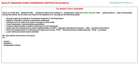 Experience Letter Qc Engineer Quality Manager Work Experience Certificate