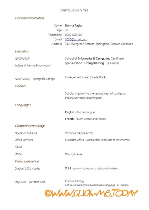 simple curriculum vitae template simple cv 100 more photos