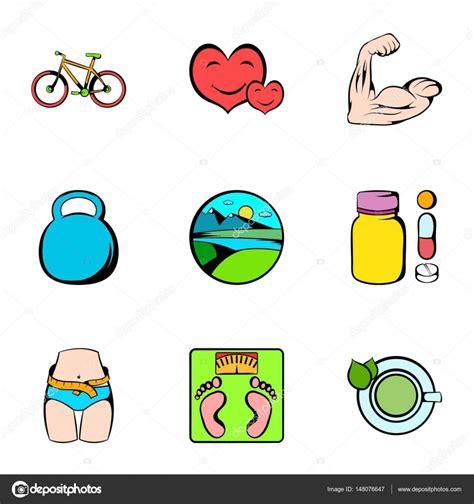 Estilo Set set de iconos estilo de vida saludable estilo de dibujos