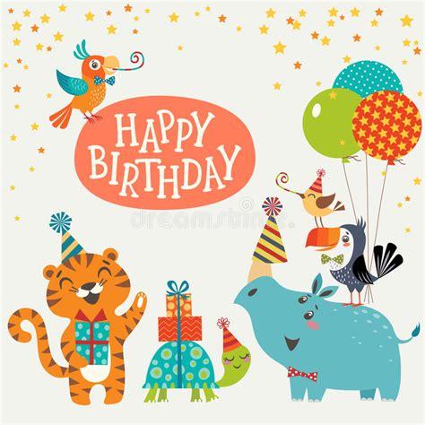 happy birthday animal stak design cute jungle animals happy birthday card stock vector