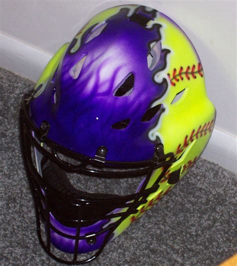 softball helmet design your own fastpitch softball airbrushed catchers mask rawlings adult