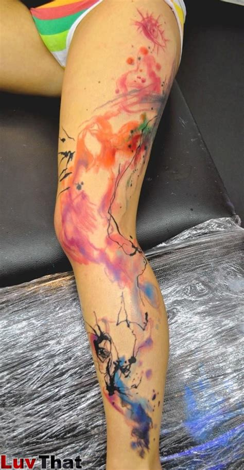 watercolor thigh tattoos 25 amazing watercolor tattoos luvthat