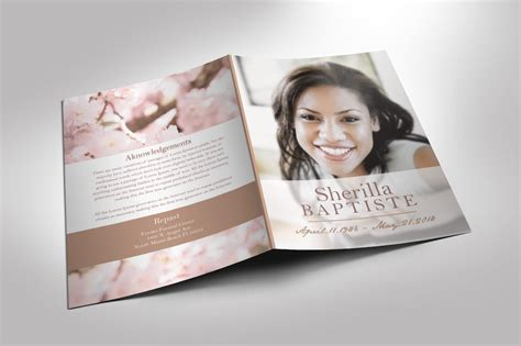 funeral booklet templates cherry funeral program publisher and word 2013 template 8