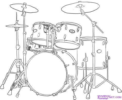 free how to draw a drum kit coloring pages