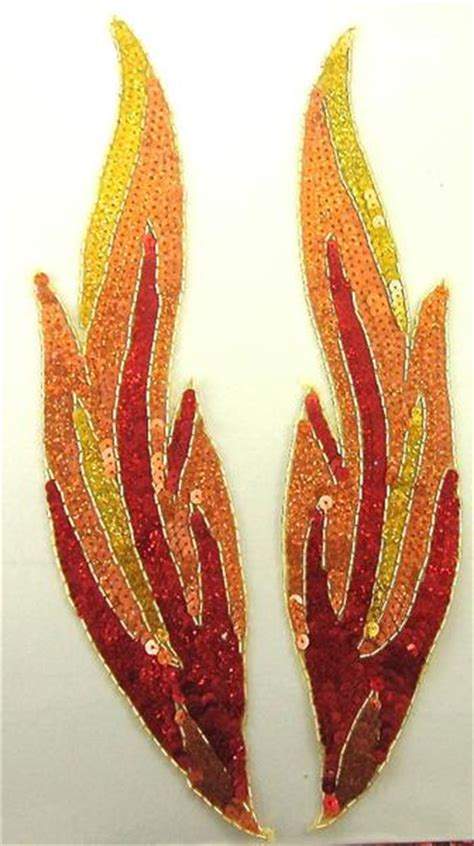flame pair red  gold orange sequins gold beaded trim