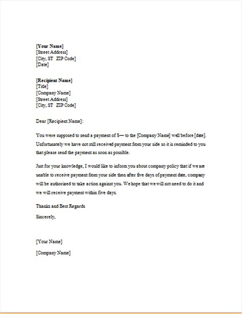 Reminder Letter To Customer For Payment Payment Reminder Letter Template For Word Word Excel Templates