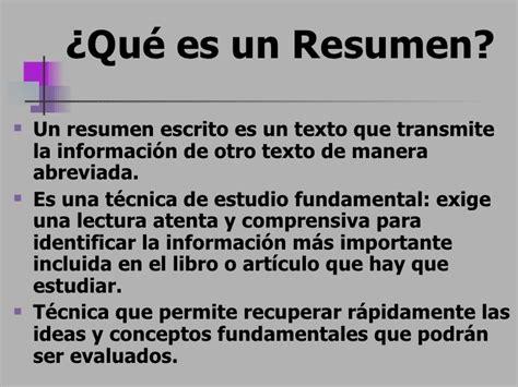Resumen Q Es by T 233 Cnicas Para Realizar Un Resumen