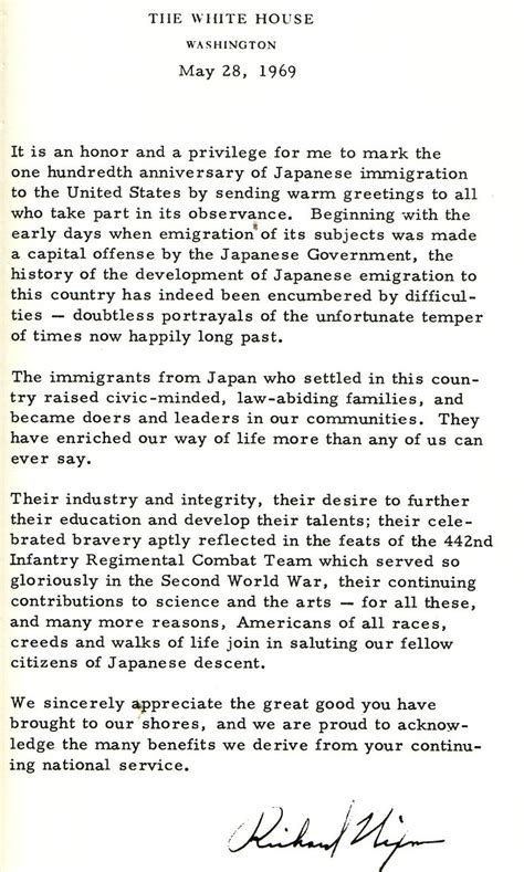 Apology Letter Japanese Internment Nixon Letter