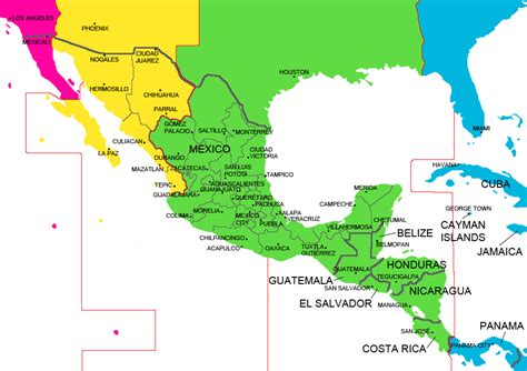 map of mexico and america mexico and central america time zone map with cities