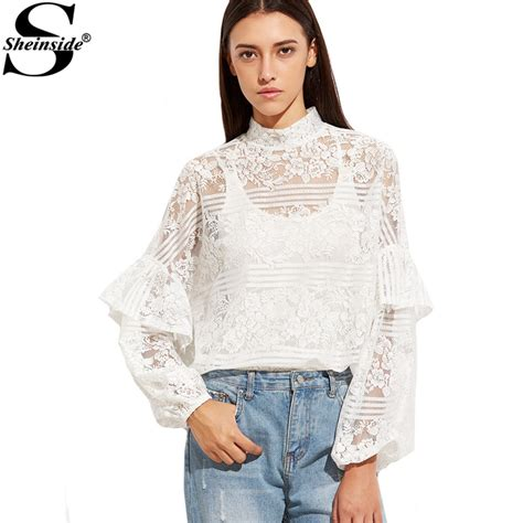 Lacy Ruffle Blouse Top sheinside white sleeve lace blouse sleeve winter tops white high neck ruffle