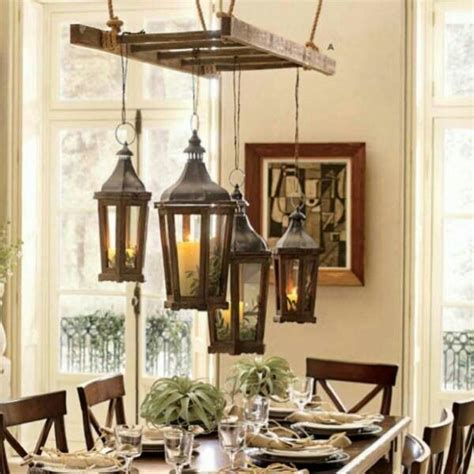 rustic home decorations vintage old ladder hanging for light fixtures chandelier