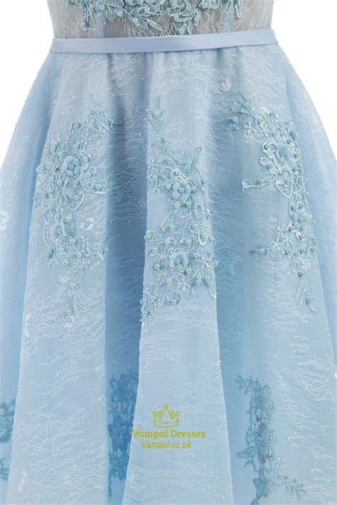 light blue lace dress with sleeves light blue lace capped sleeve beaded homecoming dress with