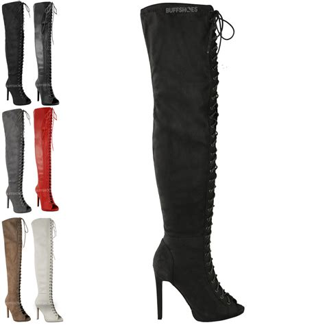 thigh high lace boots womens thigh high the knee platform lace up