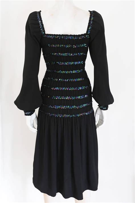 Id 1976 Black 2pcs Dress by Yves Laurent Smocked Black Evening Dress With