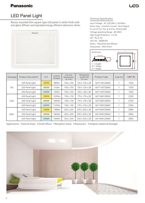 Lu Downlight Panasonic Panasonic Catalogue Pricelist Of Led Luminaires