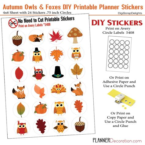 printable owl stickers autumn no cut needed printable planner stickers fall owl
