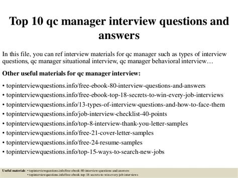 top 10 qc manager questions and answers
